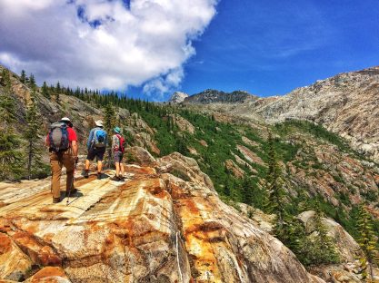 Hiking up to the moraine