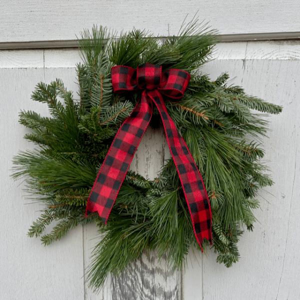 "Evergreen Plaid 12"" Wreath"