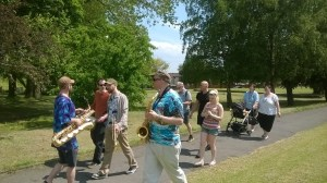 Walkers take in the sun and sights on a walk at New Wortley Community Centre. Photo courtesy New Wortley CC