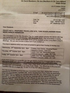 Farnley travellers site letter