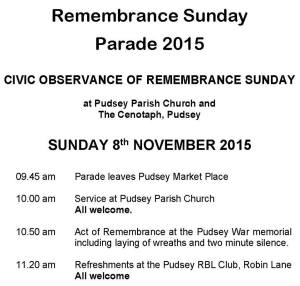 pudsey remembrance sunday