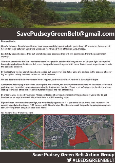 save pudsey green belt flier
