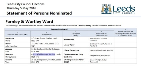 farnley and wortley ward candidates 2016