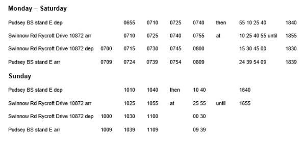 swinnow pudsey free shuttle timetable
