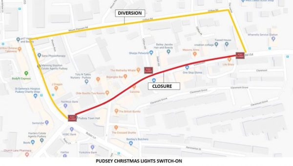 pudsey christmas lights road closures