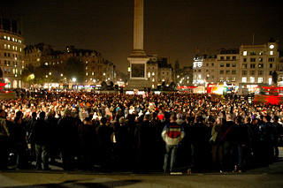 Britons protesting against hate crime Trafalgar Square in 2009.