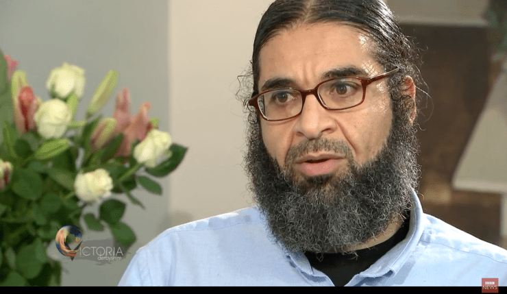 Screen Shot from Shaker Aamer interview on BBC news
