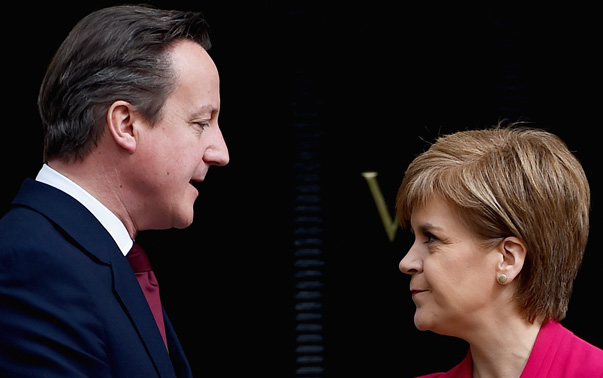 British Prime Minister David Cameron and Scotland First Minister Nicola Sturgeon (Photo by Jeff J Mitchell/Getty Images) Source: Channel4 News