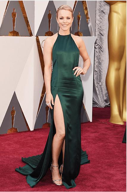 Rachel McAdams wearing a dark green August Getty Atelier gown.