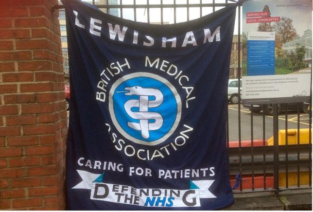 BMA flag flies at Lewsiham Hospital