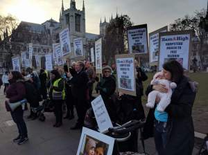 The crowd of 50 Hampstead mothers demanded that Nazanin Zaghari, in captivity since 3rd April 2016, return to the UK in time for Christmas