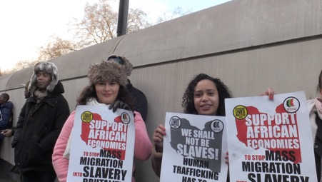 Hundreds of protesters joined the Anti-Slavery March against the Libyan Slave Trade
