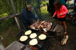 Bannock & Moose meat cooking