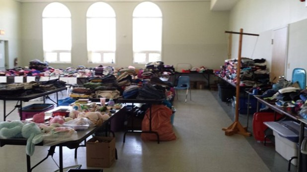 Clothing is no longer needed but non-perishable food is till welcome. Photo courtesy Sturgeon Falls Pentecostal Church.