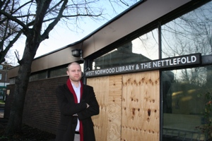 Councillor Smith outside closed library