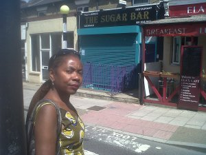 Sonia Winifred outside The Sugar Bar - at lunchtime!
