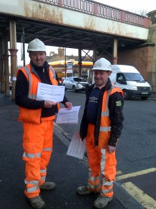 Engineers at Croxted Road bridge