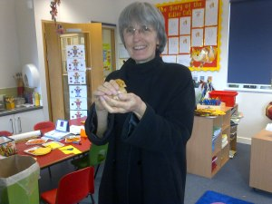 Cllr Meldrum visiting a primary class