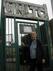 Cllr Pickard at the Tennis Club gates