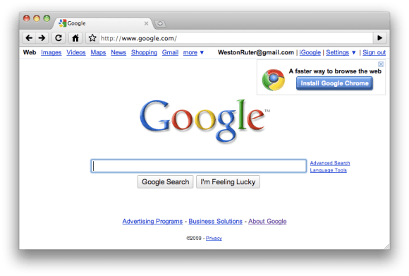 Screenshot of epic browser detection fail: being prompted to install Google Chrome when visiting Google.com while using Chrome