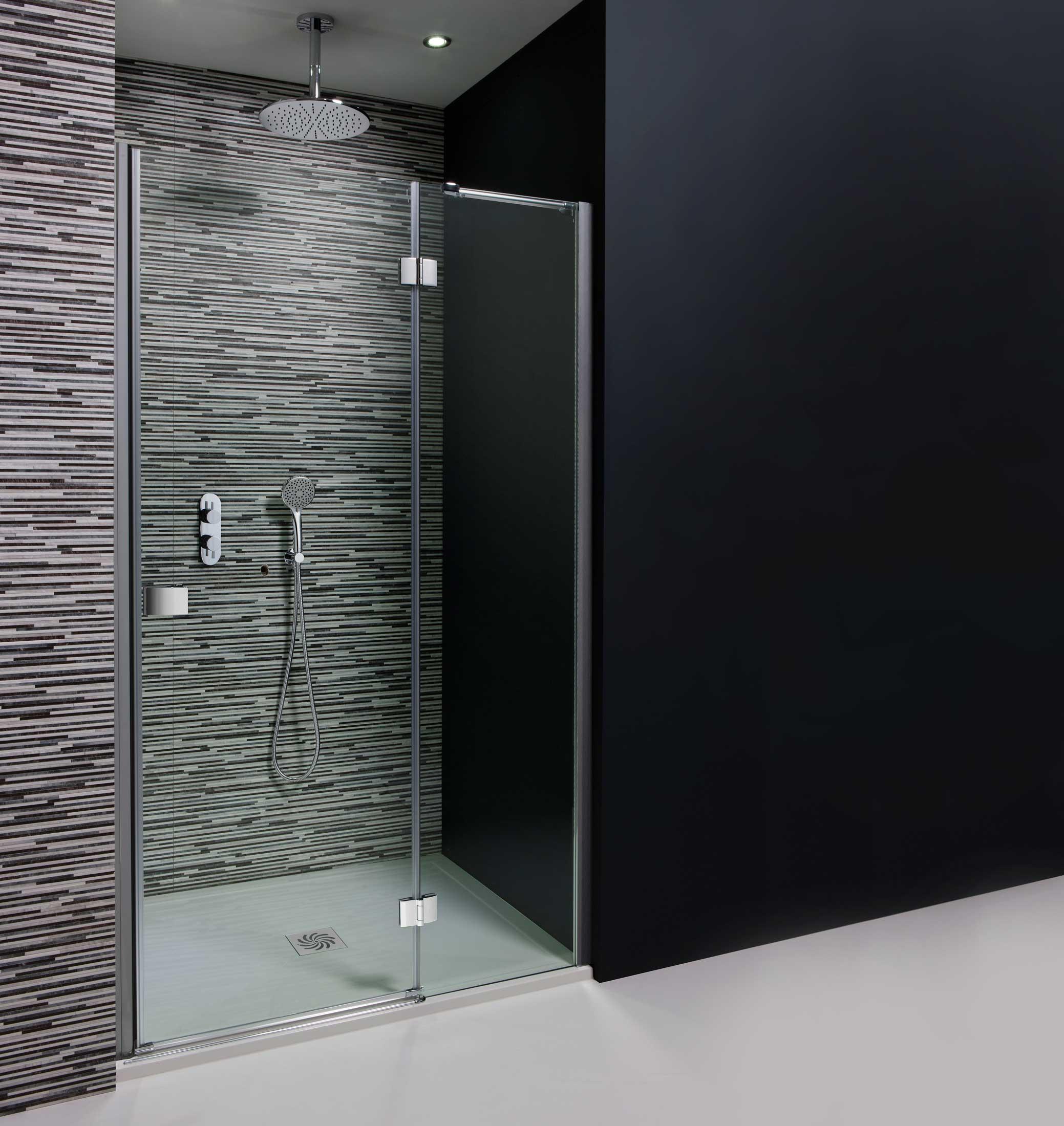 Design Hinged Shower Door With Inline Panel Shower Enclosures