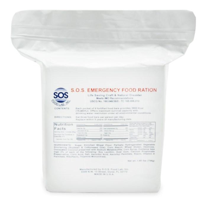 EZ-301a S.O.S. Food Bar - 3600 Calories_Front of Bag