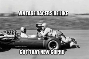 Vintage Racers Be Like got That New Go Pro? Chevy offers the latest automotive technology.
