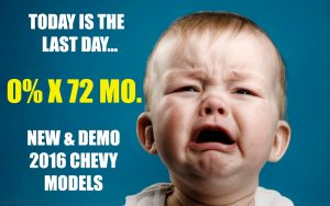 0% X 72 Months Ends Today at Ron Westphal Chevrolet in Aurora,IL