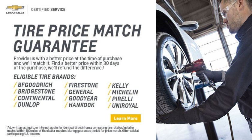Tire price guarantee at Ron Westphal Chevrolet in Aurora, IL.