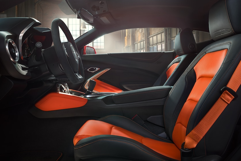 camaro hot wheels edition orange leather interior