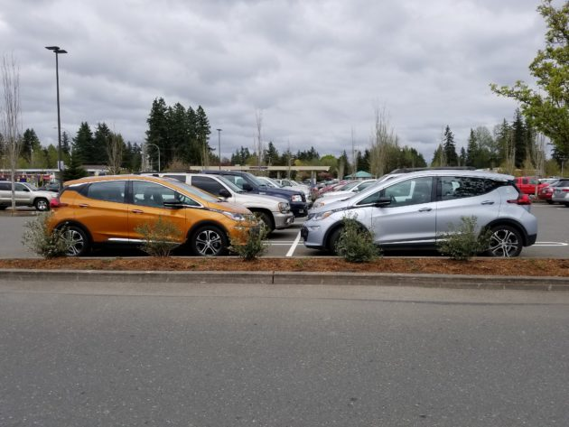 bolt ev parking lot Ron Westphal Chevrolet in Aurora, IL