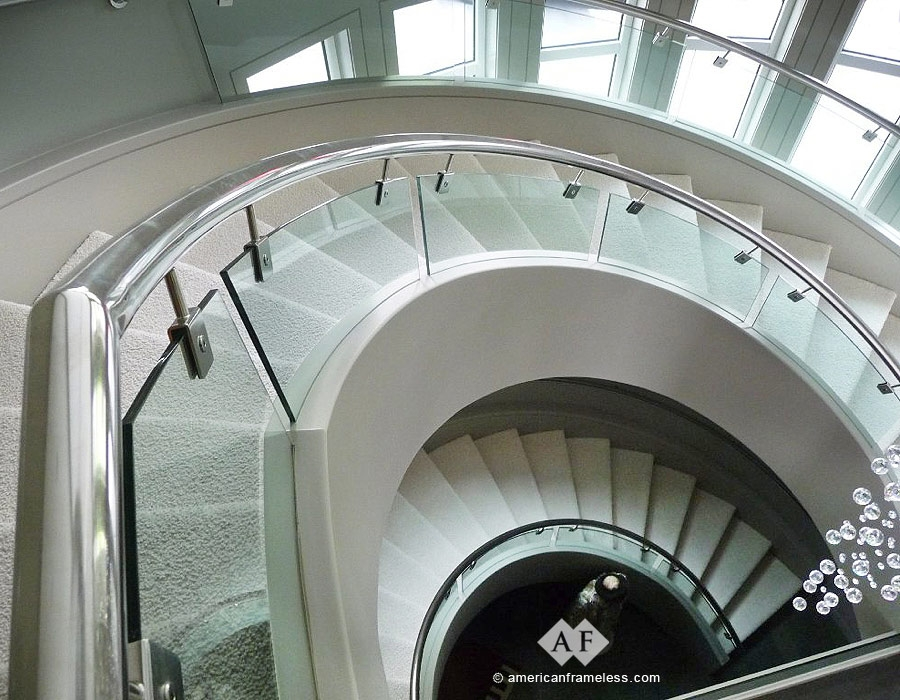 American Frameless Glass Stair Railings 1 800 606 1776 | Round Stairs Railing Design | Metal | Silver | Loft | Stainless Steel | Brown