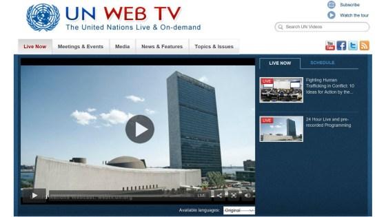 Screen grab of UN Web TV home page
