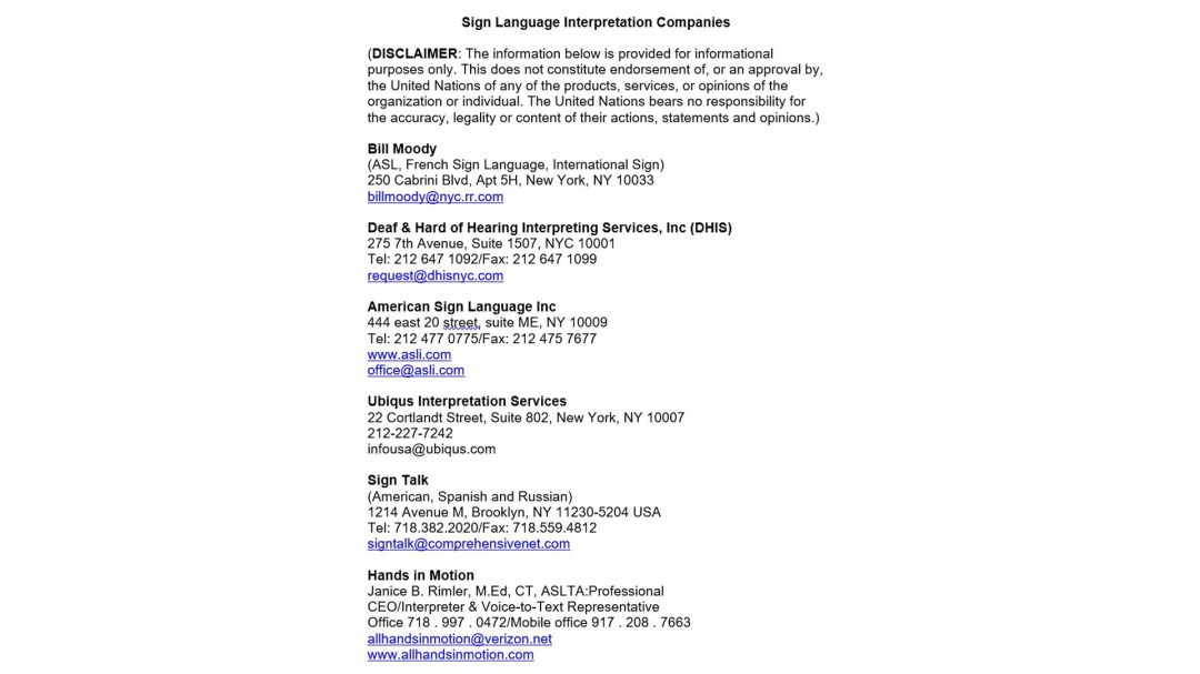 Word document with UN suggested list of sign language interpretation companies