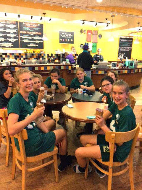 Volleyball team ejoying Mitchell's Ice Cream
