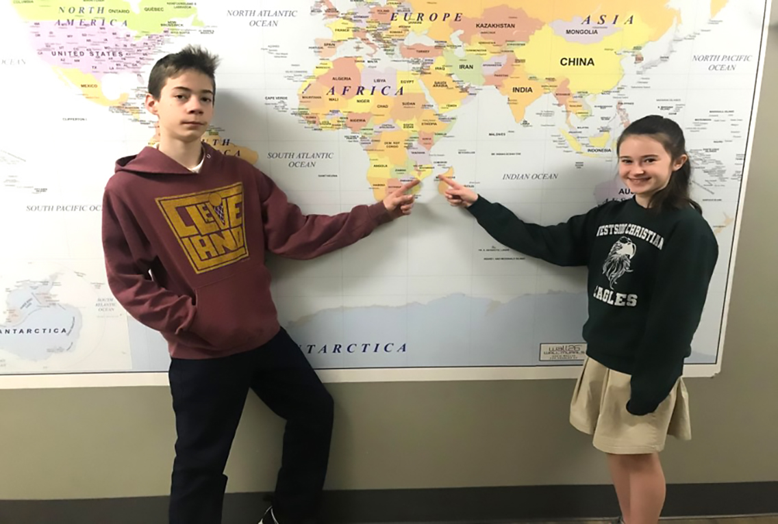 6th Grade - Pointing to Mozambique where the Brown's live