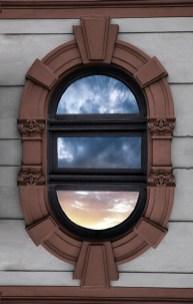 Art Deco sky window relief