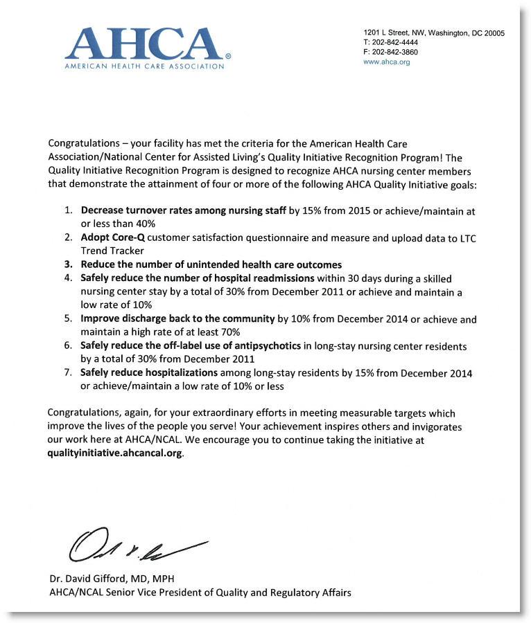 AHCA AWARD