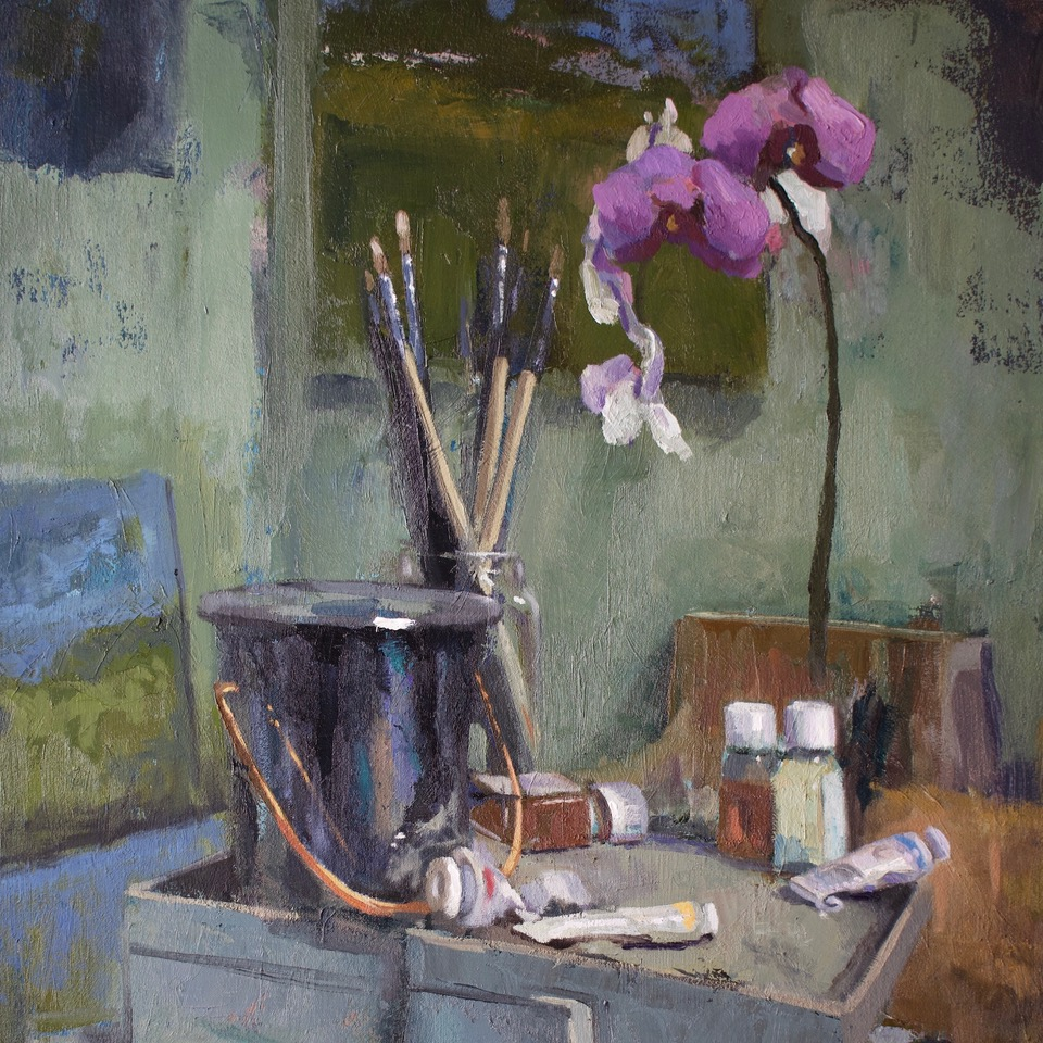 Orchids and Brushes | Digital Print on Archival Paper