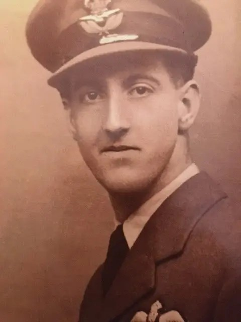 Portrait of Ted Morgan in uniform in December 1943, shortly before returning to the UK from pilot training in the USA.