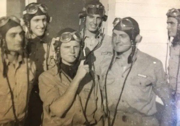 """Six RAF Cadet Pilots at No. 6 BFTS in Ponca City """"shooting the line"""""""