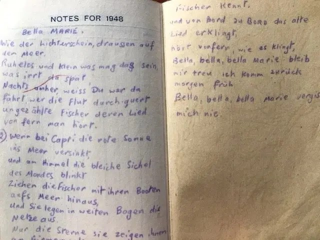 24. Enid Lewis. Notes for 1948. The lyrics for Bell Marie in German_