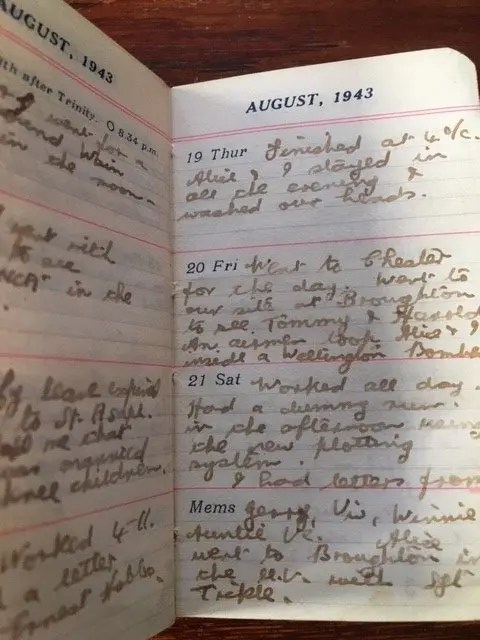 9. Enid Lewis. 20th August 1943. An airman took Alice and I inside a Wellington Bomber_