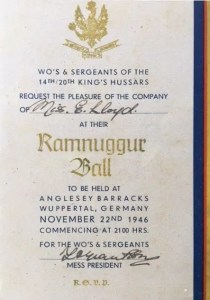 Enid Lewis. Anglesey Barracks Wuppertal Germany. 22nd November 1946. Invitation to the Ramnuggue Ball Hosted by the WO's and Sergeants of the 1