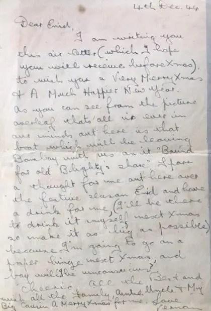 Enid Lewis. Vernon Williams_ letter 4th Dec 1944