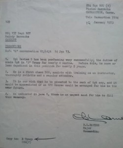 1973. Maindy Barracks. Letter from Don's Commanding Officer recommending promotion to Sergeant.