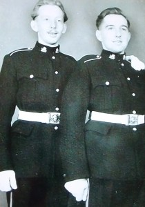 Don Davies and his twin brother, Dennis, in the Welsh TA. 1953