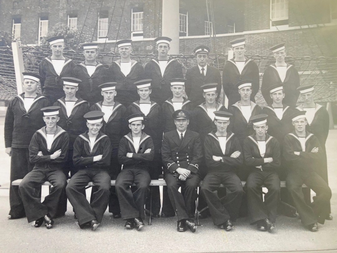 Tony Bird. Grosse Ille, Michigan, USA. Known as the Towers Scheme, group photo of 54th Pilots' Course. Tony is in the front row, 3rd from the left