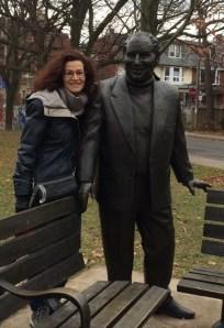 Consulting with Al Waxman's memorial Kensington statue