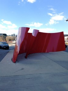 """Approaching Red"" by Maha Mustafa - beautiful wave structure in CityPlace"